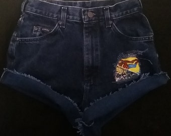 High-Waist Riders Vintage Shorts With Marvel Fabric