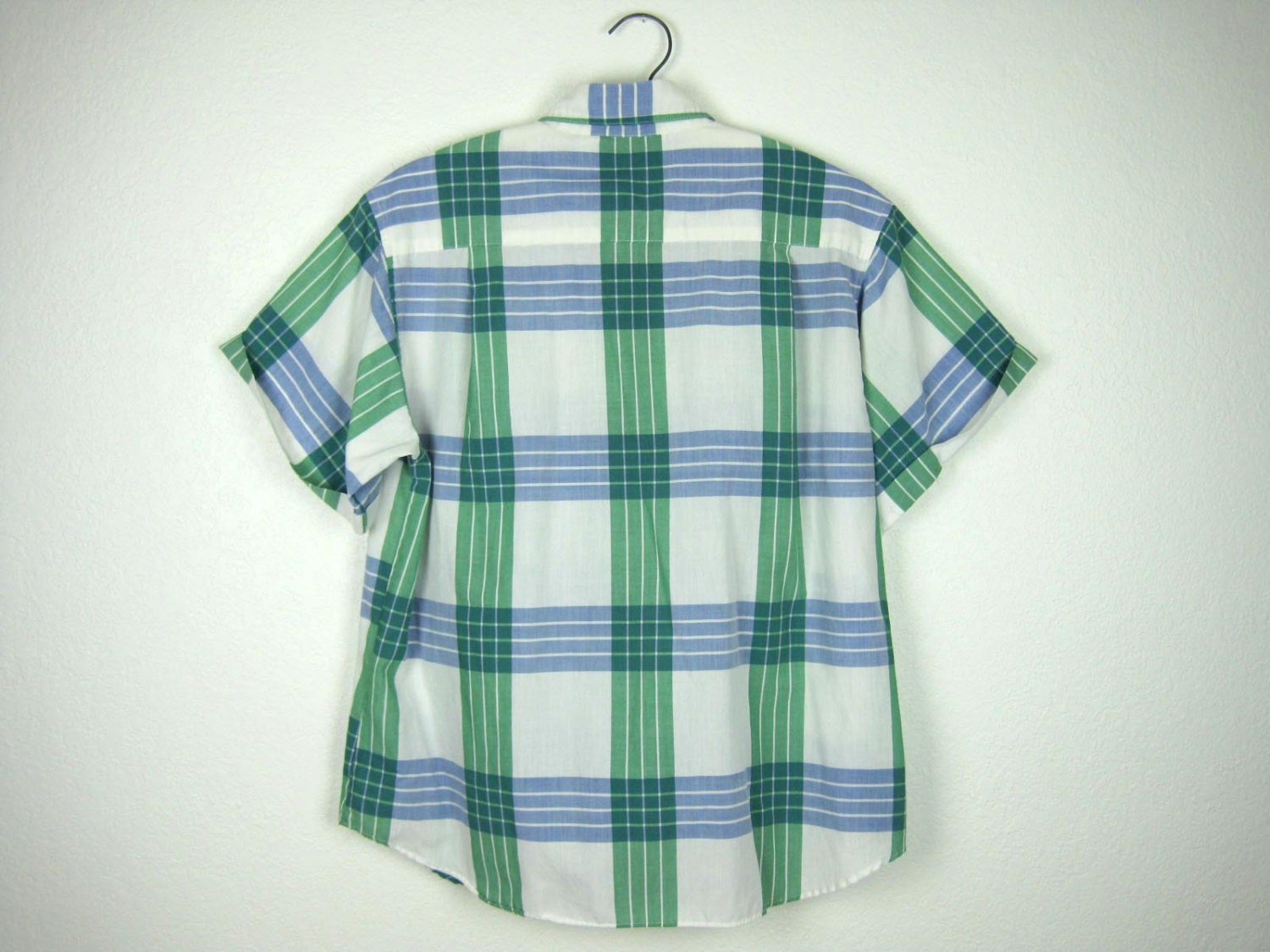 Plaid Short Sleeve Shirt Women 39 S Green White Blue Medium 8
