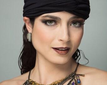 Turban Hair Accessory Head Wrap Head Scarf in Black