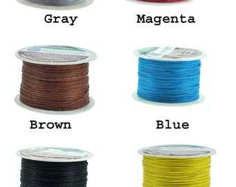 Mandala Crafts® Waxed Cord, Beading Cord, 4 Ply, 1mm, 100 Meters, 109 Yards, Different Color Selections