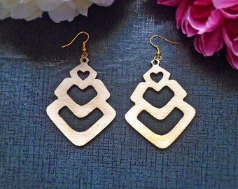 Laser Cut Earrings Diamond Heart Cut Out Birch Wood Design