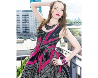 Pink & Black Thunder Bolt Stripe Abstract Print Summer Dress
