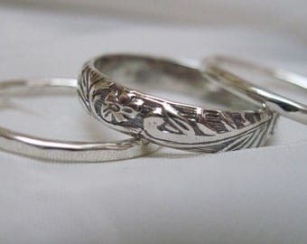 50% Off Sale - Sterling Silver Set of 3 Stacking Rings with a 4 mm Floral Focal Ring