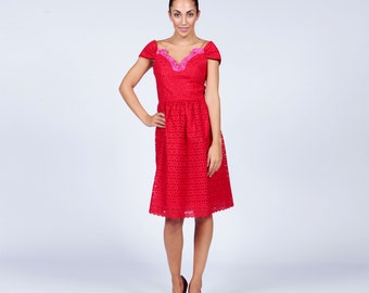 Red Lace Dress, Lace Cocktail Dress, Girlfriend gift, Valentine gift