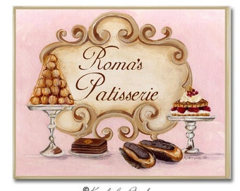 Personalized Name Plaque, Patisserie, Monogrammed Gifts, Personalized Decor,  Patisserie Plaque, Personalized Kitchen Decor,  Patisserie