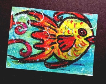 ACEO Card original painting Fish aceo Underwater Series 1 Limited Edition 2 of 6 Christian Art cast FREE SHIPPING artbyevelynmarie