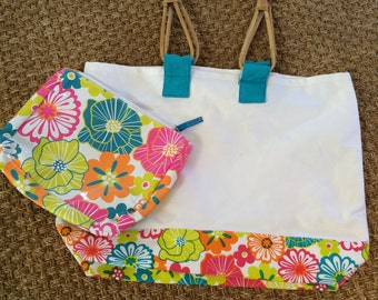 Here is the perfect carryall for your next vacation!  Use as a beach bag, travel bag, book bag or give your friends a special gift.