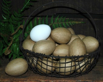 "12 Unfinished Paper Mache Eggs ... 2-1/2"" chicken size ... ready to paint or decoupage"