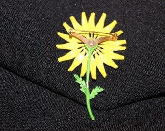 Beautiful Vintage Signed Sunflower Brooch - Hedy