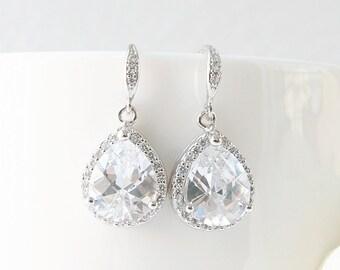 Luxury Teardrop Earrings, CZ Earrings, Dangle earrings, Bridesmaid Gift, Wedding bridal earrings, Wedding gift earrings, Bridesmaid earrings