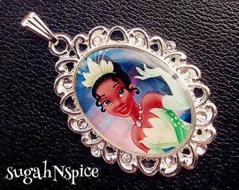 Princess Tiana necklace pendant Inspired Necklace Pendant Cabochon for Chunky Bubblegum necklaces Tiana necklace