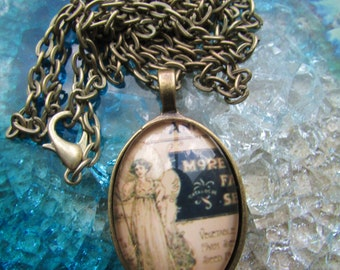 Victorian Advertisement Pendant in Brass Setting Under Polished Glass