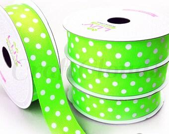 """10 Yard Lime Green Polka Dot Grosgrain Ribbon - 7/8"""" x 10 Yards"""