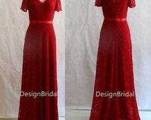 2014 NEW Dark Red  Lace Elegant Wedding Guest Dresses,Bridal Mother Wedding  Dress,Atrovirens Mother of the Groom/Bride Dress,Mother Dress