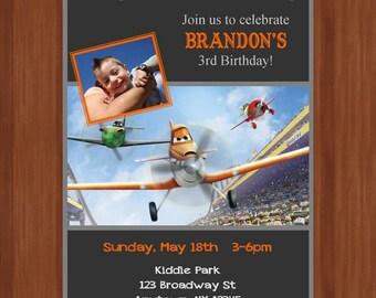 Planes digital birthday party invitation 5x7