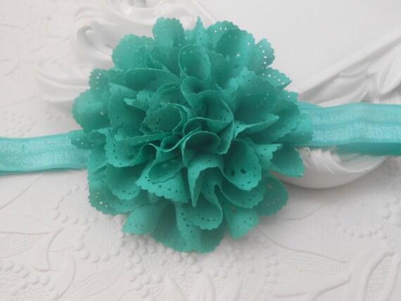 Green Eyelet Chiffon Lace Flower Baby Headband, Newborn Headband,  Infant Headband,Baby Headband, Headband Baby, Baby Headband
