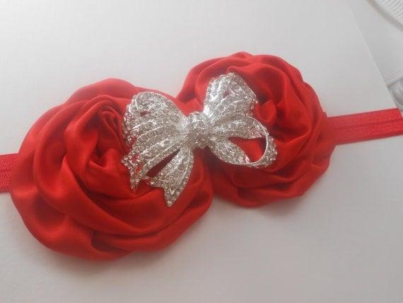 Red Satin Baby Headband, Newborn Headband, Baptism Headband, Infant Headband,Baby Headband, Headband Baby, Baby Headband