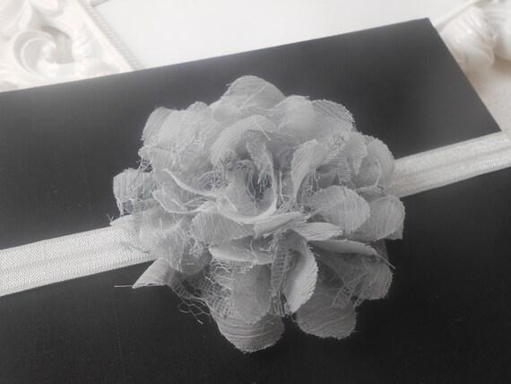 Grey  Frayed Lace,Chiffon flower Baby Headband, Newborn Headband,  Infant Headband,Baby Headband, Headband Baby, Baby Headband