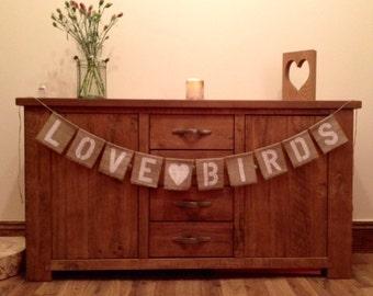 Love Birds Vintage Wedding Hessian/Burlap Bunting