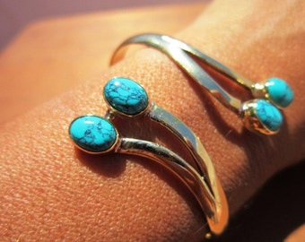 Bohemian Bangle Bracelet Gold Brass Turquoise dual gemstone - Adjustable Bangle cuff
