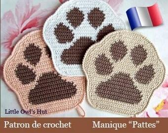 052F Potholder or Deco paw! Crochet patterns. PDF files. By Zabelina Etsy