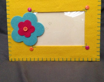 Yellow, Pink, and Teal Felt Flower Picture Frame