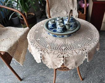 90 cm Round table cover, vintage look table topper, hand crochet tablecloths for home decor ~ 100% handmade crochet pattern