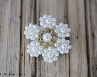 White Pearl Flower Hair Clip, Flower Hair Clip, White Hair Clip, Rhinestone Hair Clip, Flower Girl Hair Clip, Baptism Hair Clip, 893