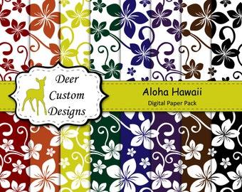 Hawaii Digital Paper Pack | 16 Hawaiian Digital Scrapbook Papers | Instant Download | Commercial Use | Hawaiian Beach Summer Flowers Pattern