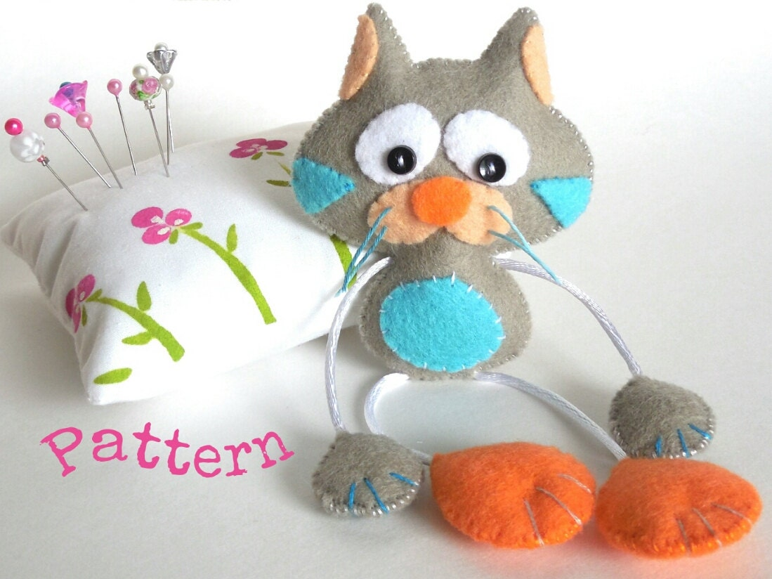Soft Toy Patterns : Skinny cat pdf sewing patterns cute toy felt