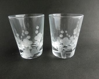 Japanese apricot motif shot glass set of 2