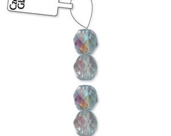 Czech Glass 8mm Facet Round Strand - 19 Beads - Ice Blue