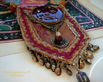Designer necklace Indian silk type Bohemian Nomad chic ethno tribal with metal pendants