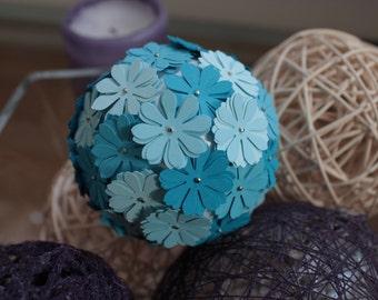 Paper kissing balls, paper flower ball, pomanders, blue flowers,free shipping.