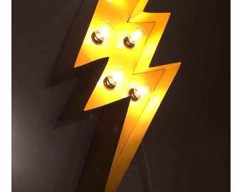 "Marquee Lightning Bolt 24""...light up sign, YELLOW!"