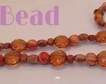 Wood beaded necklace and bracelet