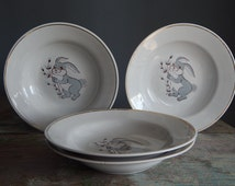 Tableware Set of 4, Soviet Vintage Kids Soup Plate, Russian Gray Bunny Tableware, Easter Plate Made in USSR in late 1970