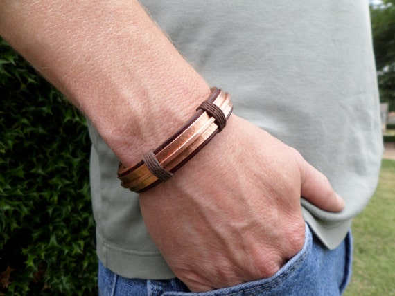 Men S Leather And Copper Bracelet Men S Leather