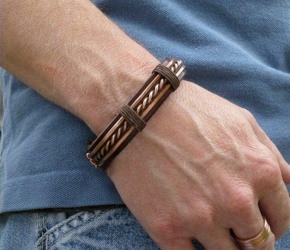 men 39 s leather and copper bracelet men 39 s leather. Black Bedroom Furniture Sets. Home Design Ideas