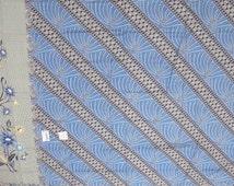 Colourful Patterned South East Asian Cotton Batik Material  - Light Blue, Navy, Beige Floral, Geometric, Modern