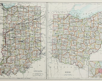 Large 1897 Blacks Antique Map, Colour Map, United States (USA) State and County Map, Indiana & Ohio