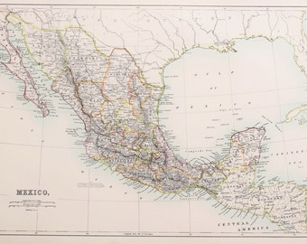 Large 1897 Blacks Antique Colour Map, Mexico, Latin America, Central America