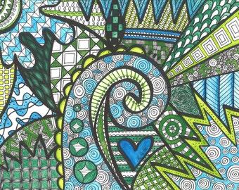 Zentangle - Ink and Watercolor Drawing Original