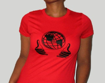 The Whole World shirt for women, Statement shirt, Optimist's shirt, Round neck, Short sleeves, Cotton shirt, Womenz shirt, Red shirt