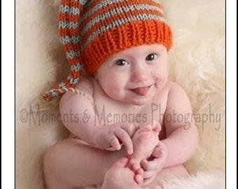 Baby Hat KNiTTiNG PATTERN Long Tail Stocking Cap PiC TUTORiAL Stripe MuNCHKiN Toque PDF PaTTeRN 3 SiZE Newborn - 12 month PHoTO PRoP Beanie
