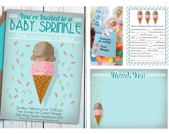 Ice Cream Baby Shower Package, Ice Cream Social Baby Shower Invitation, INSTANT DOWNLOAD, Baby Sprinkle, decorations, printable invitation