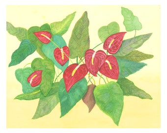 Red Anthuriums - Original Watercolor