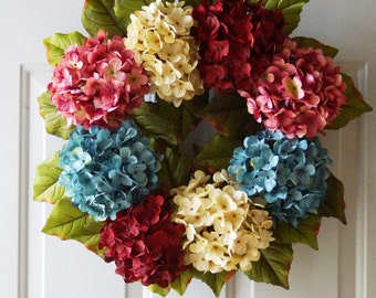 Spring Summer Wreath Wedding Decor, Shabby Outdoor Wedding Flowers, Summer Outdoor Wreaths, Hydrangea Decor Other Colors Available