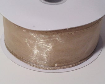 "1 1/2"" Wired Edge Organza Ribbon - Toffee - 10 Yards"