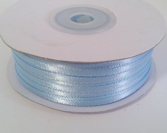"1/8"" and 1/16"" Light Blue Double Face Satin Ribbon - 100 Yards"